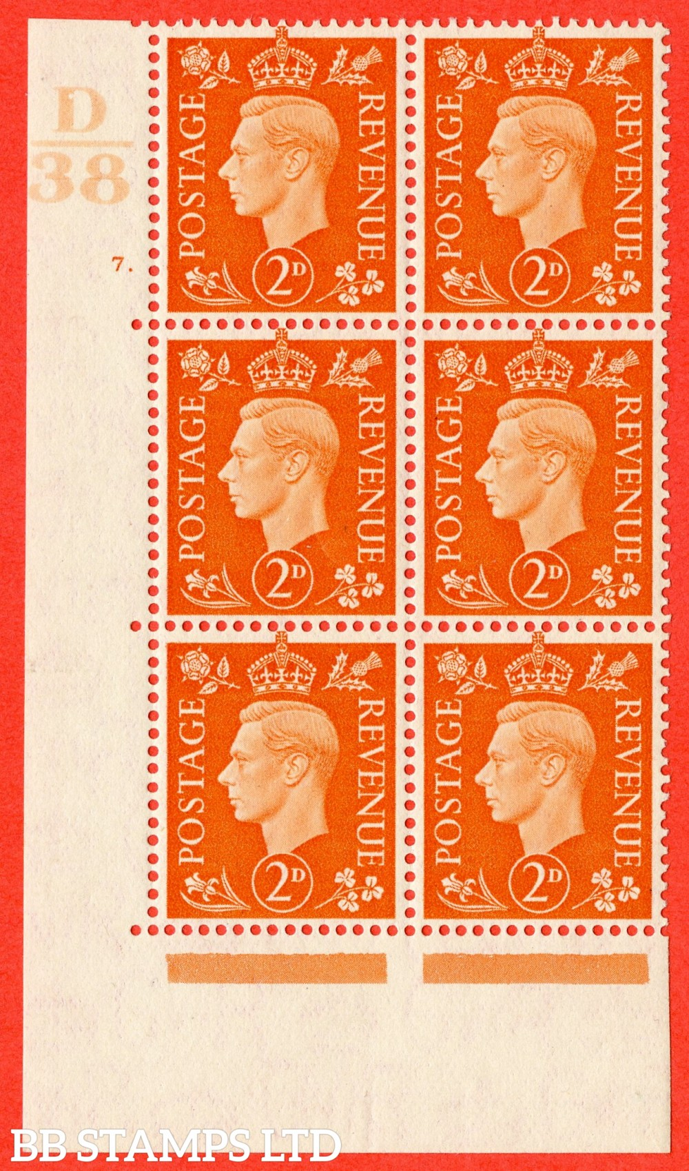 "SG. 465. Q10. 2d Orange. A superb UNMOUNTED MINT"" Control D38 cylinder 7 dot "" control block of 6 with perf type 5 E/I."