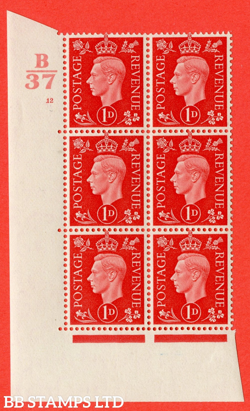 """SG. 463. Q4. 1d Scarlet. A superb UNMOUNTED MINT """" Control B37 cylinder 12 no dot """" block of 6 with perf type 5 E/I."""