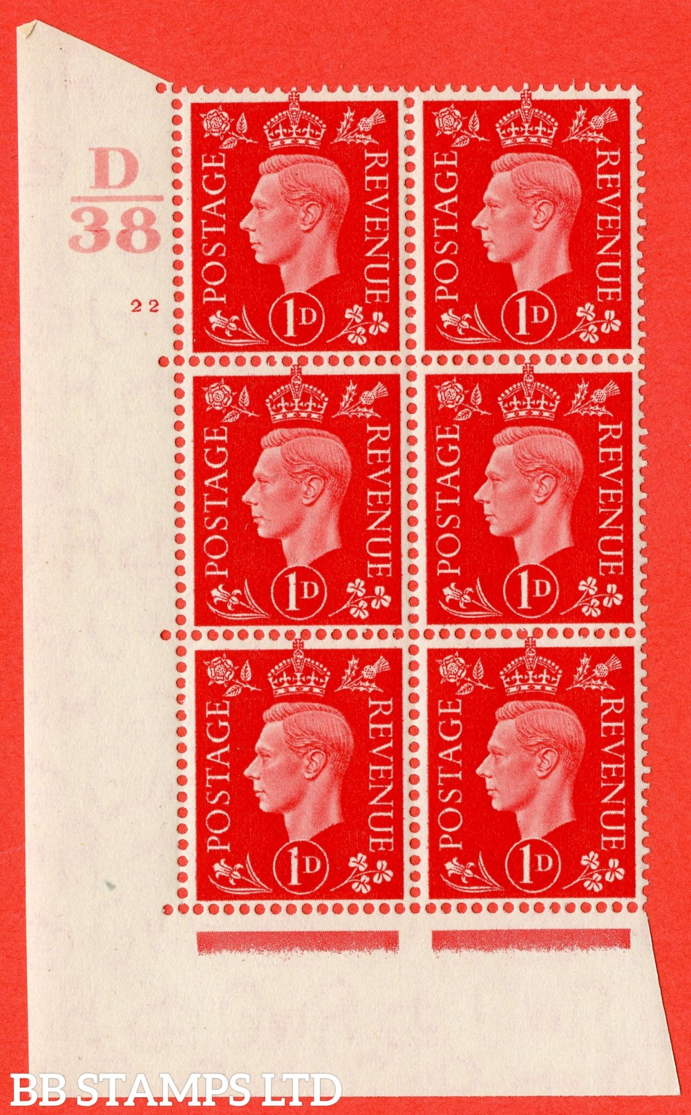 "SG. 463. Q4. 1d Scarlet. A superb UNMOUNTED MINT "" Control D38 cylinder 22 no dot "" block of 6 with perf type 5 E/I."