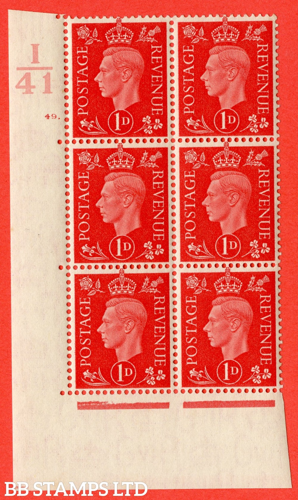 "SG. 463. Q4. 1d Scarlet. A superb UNMOUNTED MINT "" Control I41 cylinder 49 dot "" block of 6 with perf type 5 E/I."
