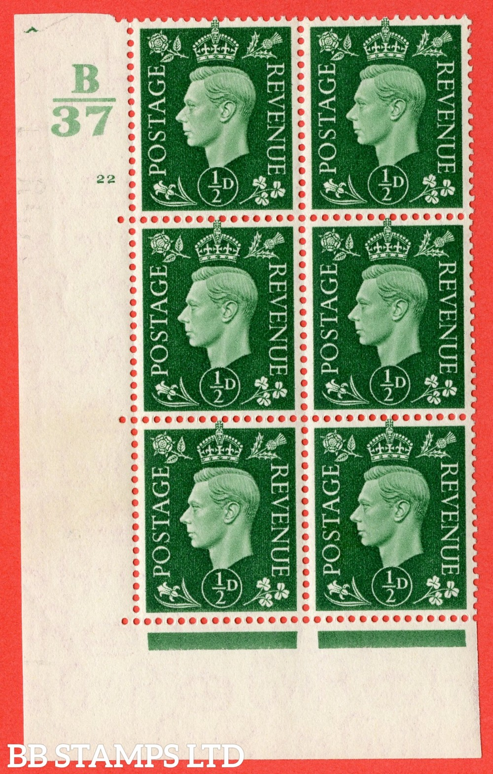 "SG. 462. Q1. ½d Green. A superb UNMOUNTED MINT "" Control B37 cylinder 22 no dot "" block of 6 with perf type 5 E/I."