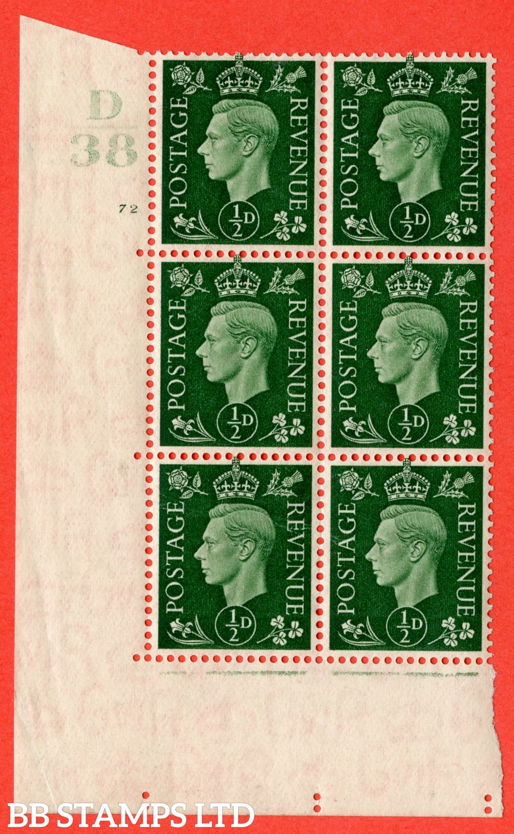 "SG. 462. Q1. ½d Green. A superb UNMOUNTED MINT "" Control D38 cylinder 72 (i) no dot "" block of 6 with perf type 5 E/I."