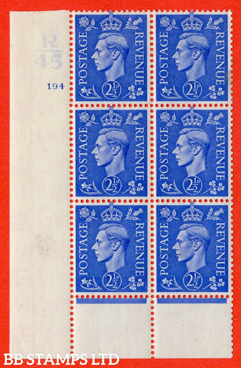 "SG. 489. Q14. 2½d Light ultramarine. A superb UNMOUNTED MINT "" Control R45 cylinder 194 no dot "" control block of 6 with perf type 6 I/P."