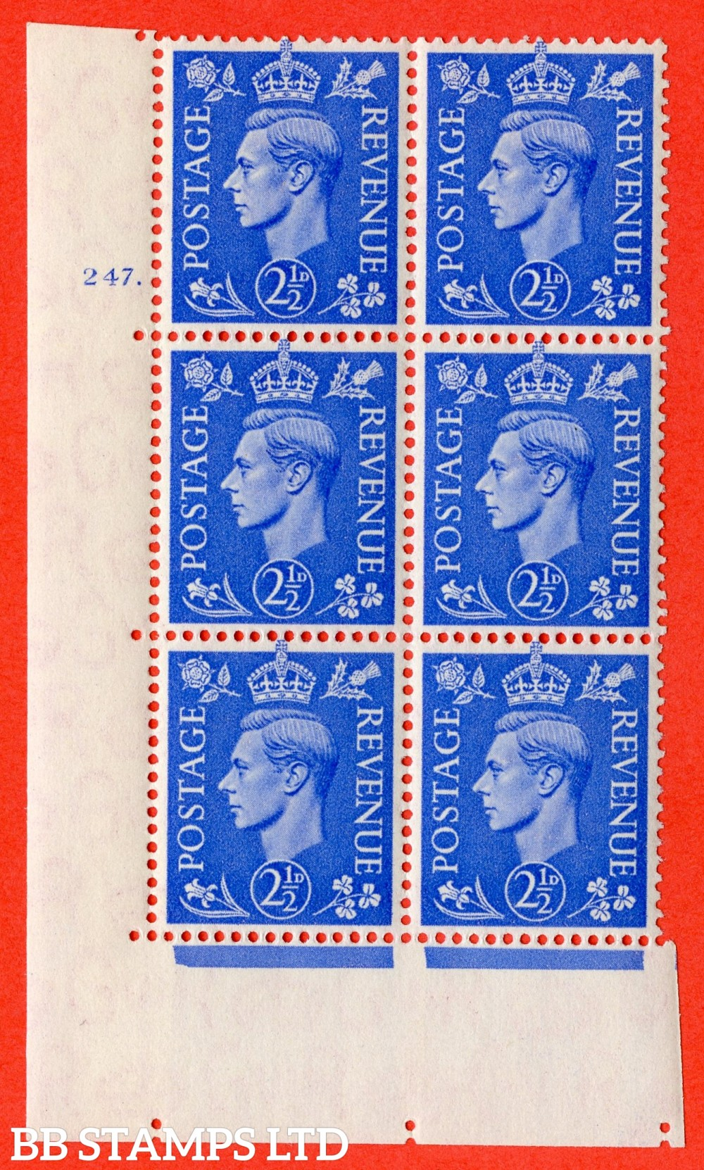 "SG. 489. Q14. 2½d Light ultramarine. A superb UNMOUNTED MINT "" No Control cylinder 247 dot "" control block of 6 with perf type 5 E/I"