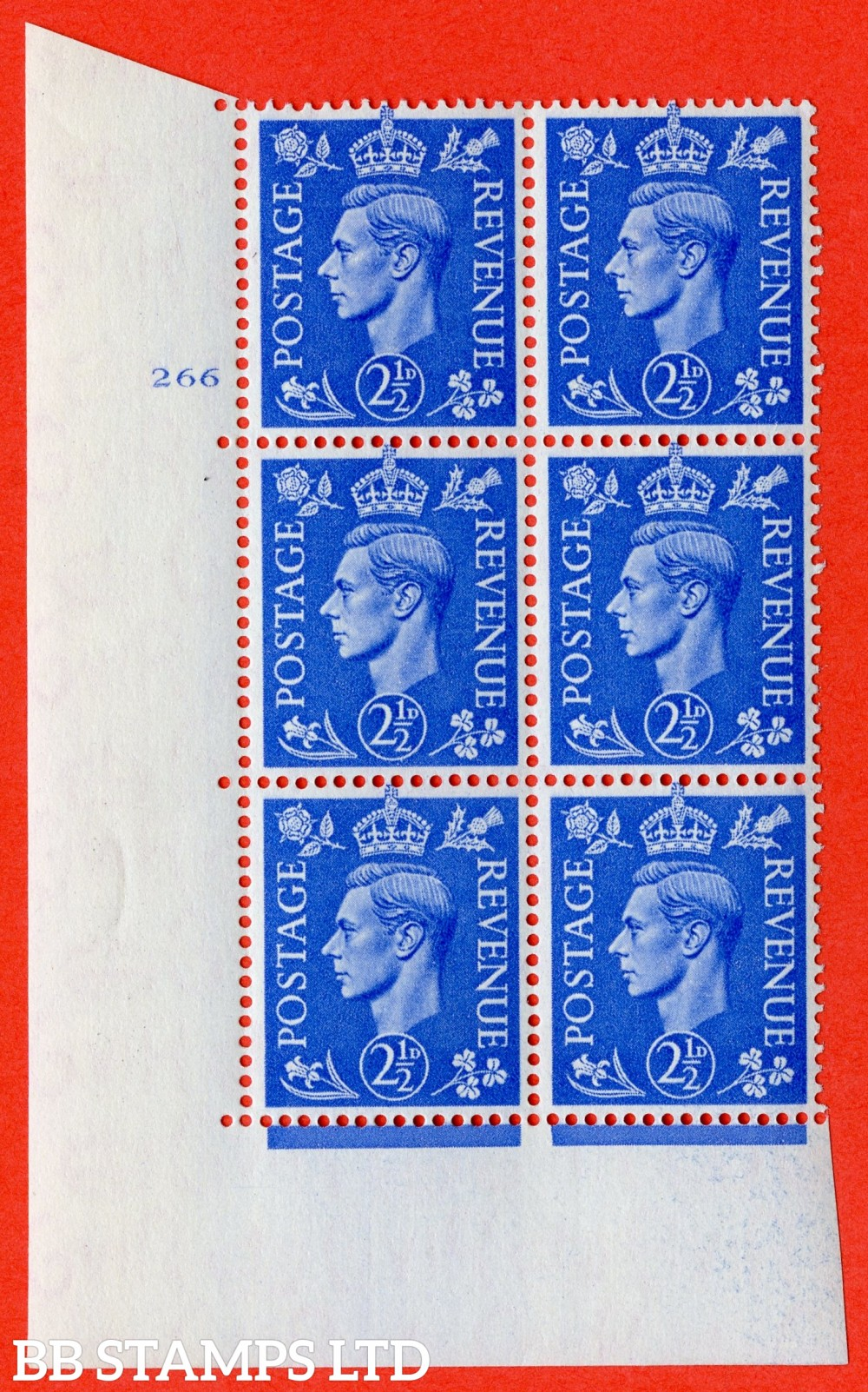 "SG. 489. Q14. 2½d Light ultramarine. A superb UNMOUNTED MINT "" No Control cylinder 266 no dot "" control block of 6 with perf type 5 E/I"