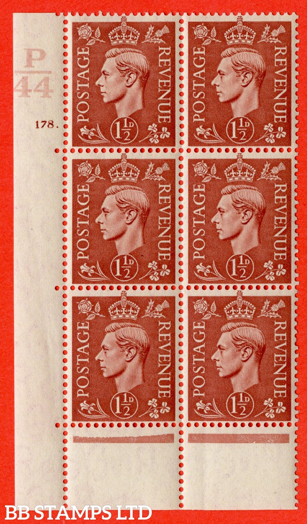 "SG. 487. Q8. 1½d Pale Red-Brown. A fine lightly mounted mint "" Control P44 cylinder 178 dot "" control block of 6 with perf type 6B E/P."