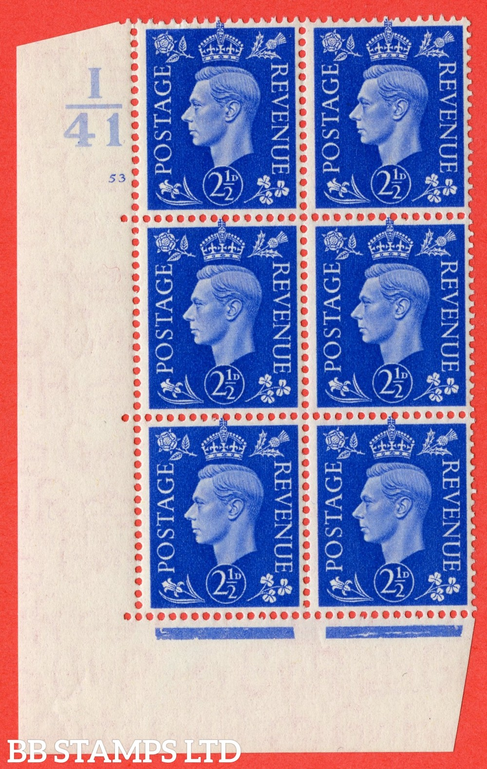 """SG. 466. d. Q13. 2½d Ultramarine.  A fine lightly mounted mint """" Control I41 cylinder 53 no dot """" control block of 6 with perf type 5 E/I."""