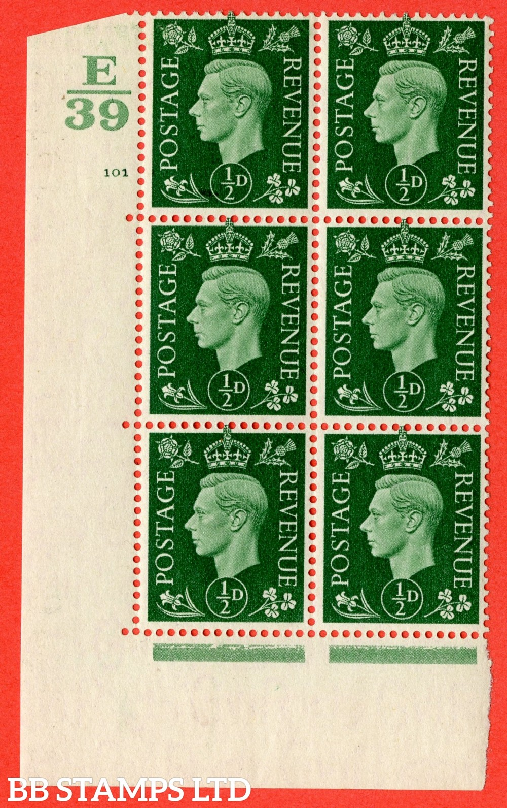 "SG. 462. Q1. ½d Green. A fine lightly mounted mint "" Control E39 cylinder 101 no dot "" block of 6 with perf type 5 E/I with marginal rule."