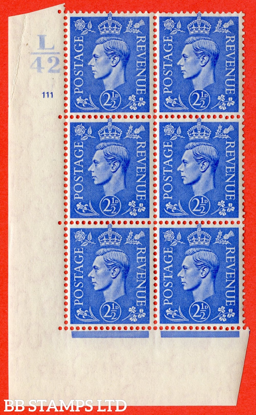 "SG. 489. Q14. 2½d Light ultramarine. A superb UNMOUNTED MINT "" Control L42 cylinder 111 no dot "" control block of 6 with perf type 5 E/I."