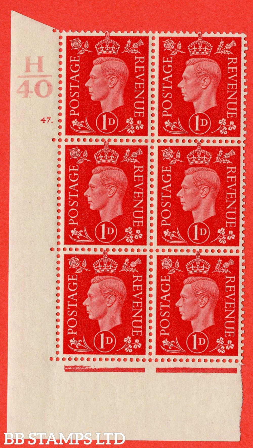 "SG. 463. Q4. 1d Scarlet. A superb UNMOUNTED MINT "" Control H40 cylinder 47 dot "" block of 6 with perf type 5 E/I with marginal rule."
