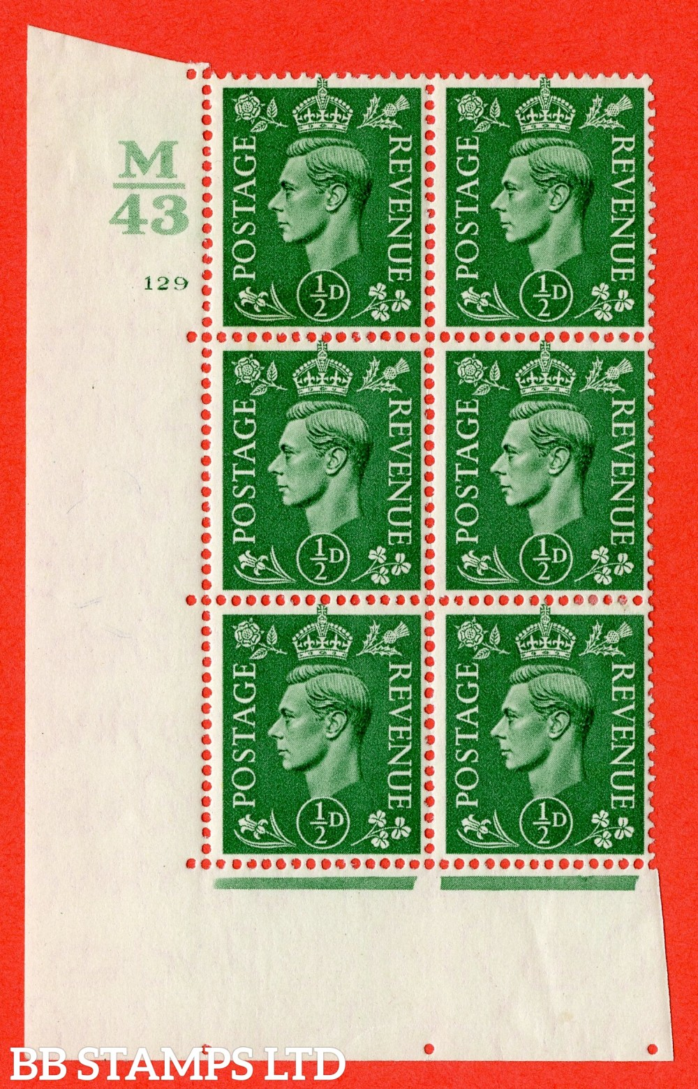 "SG. 485. Q2. ½d Pale Green. A fine mounted mint "" Control M43 cylinder 128 no dot "" block of 6 with perf type 5 E/I with marginal rule."