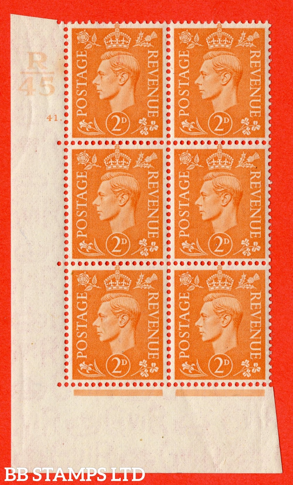 "SG. 488. Q11. 2d Pale Orange. A fine lightly mounted mint "" Control R45 cylinder 41 dot "" control block of 6 with perf type 5 E/I."
