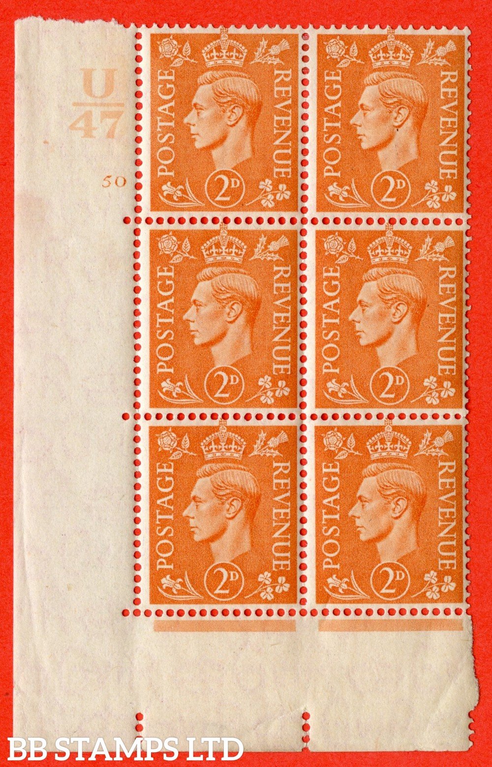"SG. 488. Q11. 2d Pale Orange. A fine lightly mounted mint "" Control U47 cylinder 50 no dot "" control block of 6 with perf type 5 E/I."