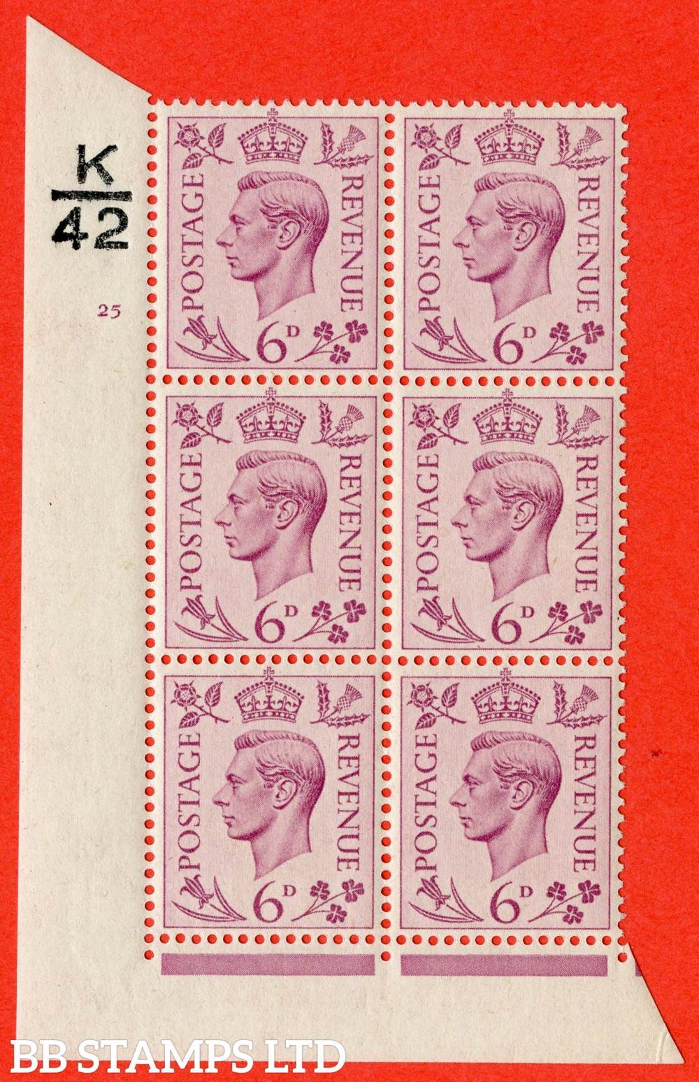"""SG. 470. Q22. 6d Purple. A fine lightly mounted mint """" Control K42 cylinder 25 no dot """" control block of 6 with perf type 2 E/I."""