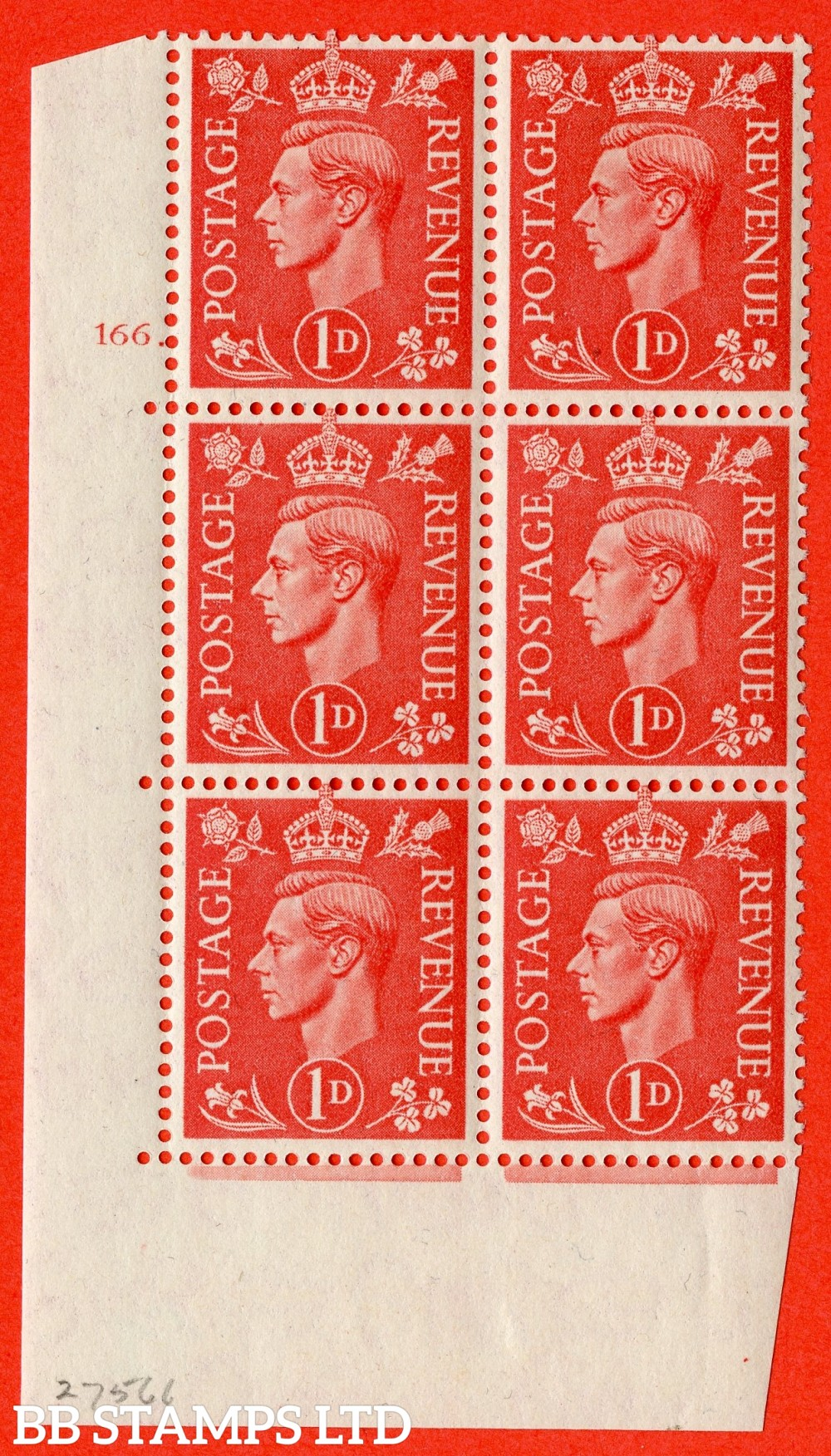 """SG. 486. Q5. 1d Pale scarlet. A fine lightly mounted mint """" No Control cylinder 166 dot """" control block of 6 with perf type 5 E/I."""
