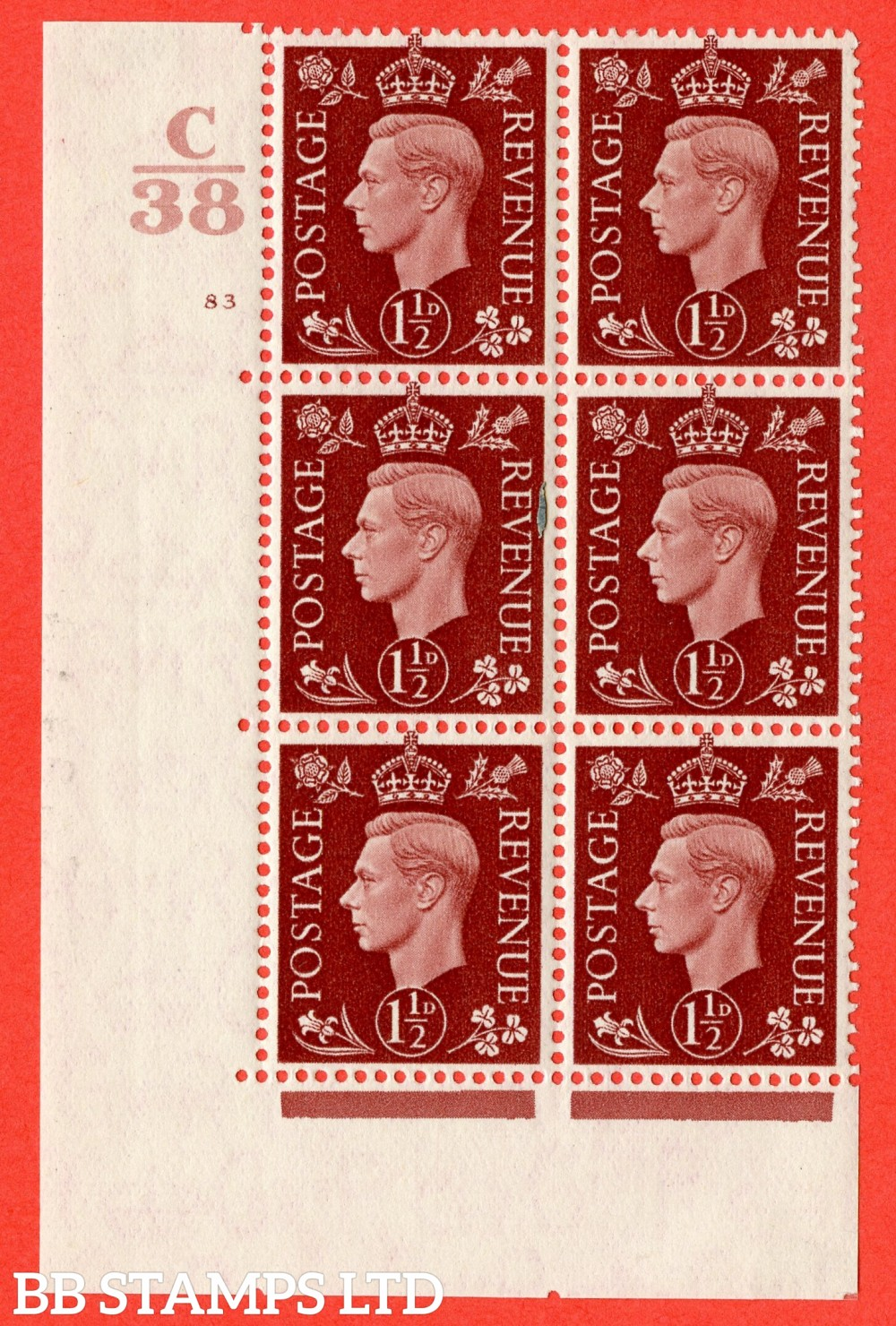 """SG. 464. Q7. 1½d Red-Brown. A fine lightly mounted mint """" Control C38 cylinder 83 no dot """" block of 6 with perf type 5 E/I."""