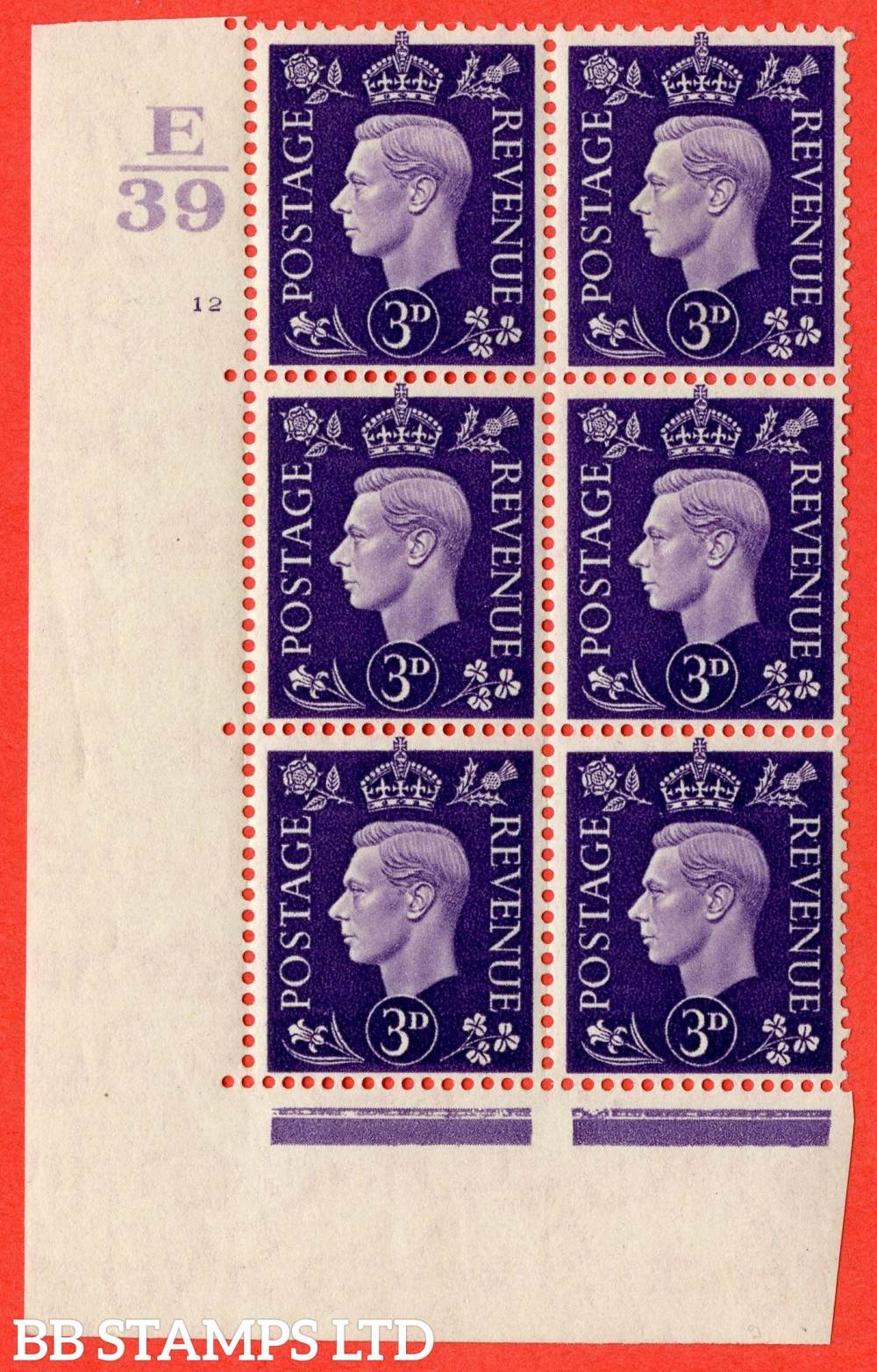 """SG. 467. Q16. 3d Violet. A fine lightly mounted mint """" Control E39 cylinder 12 no dot """" control block of 6 with perf type 5 E/I."""