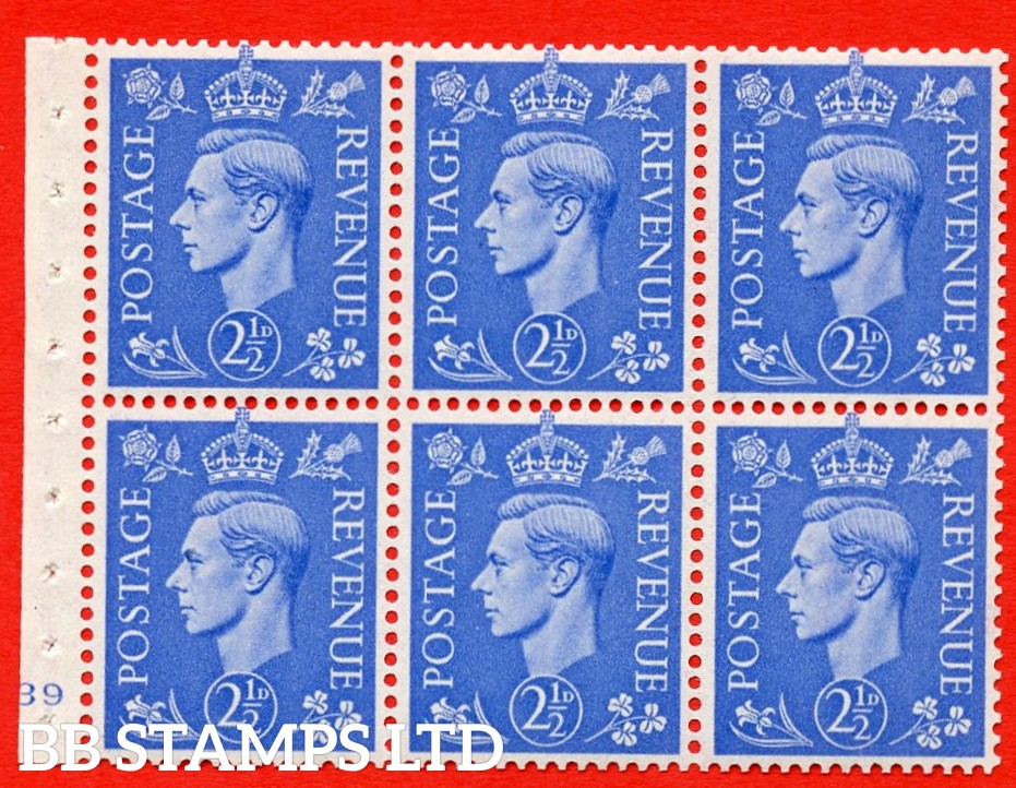 """SG. 489f. QB33. 2½d blue. A fine UNMOUNTED MINT complete Cylinder pane of 6 J39 No dot. Perf type """"B3(I)"""". Good Perfs."""