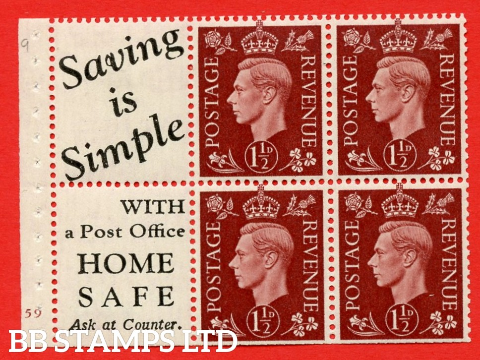"""QB23 Perf Type B3(I) (10) 1½d Red-Brown x 6 Pane, MOUNTED MINT. Cylinder Pane G59 no dot ( SG. 464b ) Perf type B3(I). """" Saving is Simple / (""""is"""" 4.5mm. High) Home Safe """". Trimmed Perfs."""