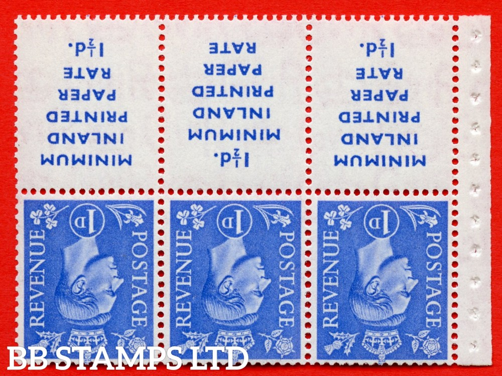 """SG. 504dw. QB18a. 1d ultramarine. A fine MOUNTED MINT example with """" MINIMUM INLAND PRINTED PAPER RATE """" 17 mm high. Perf type """" I """". Good Perf."""