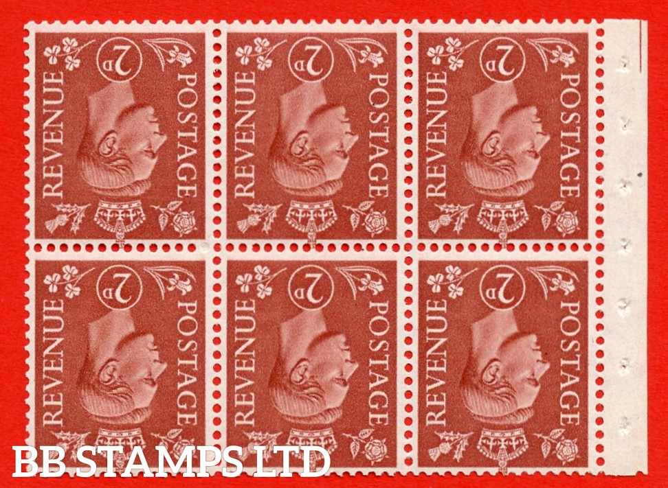 """SG. 506dw. QB31a. 2d pale red brown. A superb MOUNTED MINT. INVERTED WATERMARK complete booklet pane. Perf type """" Iet """". Good Perfs."""