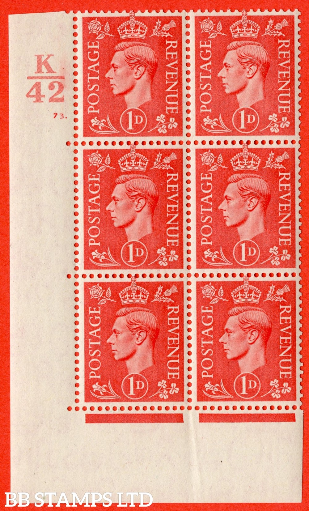 "SG. 486. Q5. 1d Pale scarlet. A superb UNMOUNTED MINT "" Control K42  cylinder 73 dot "" control block of 6 with perf type 5 E/I."