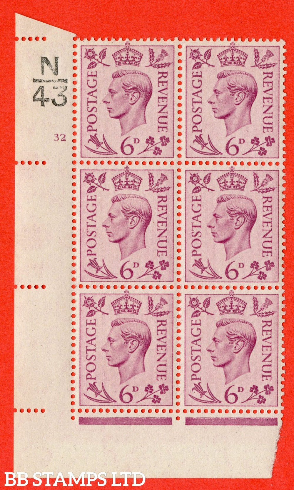 """SG. 470. Q22. 6d Purple. A fine lightly mounted mint """" Control N43 cylinder 32 no dot """" control block of 6 with perf type 2 E/I"""