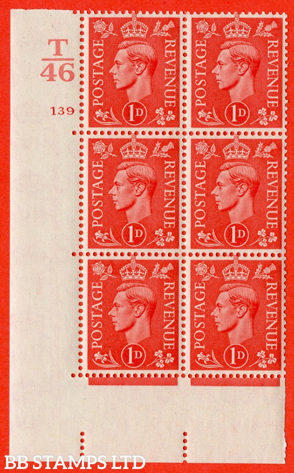"""SG. 486. Q5. 1d Pale scarlet. A fine lightly mounted mint """" Control T46  cylinder 139 no dot """" control block of 6 with perf type 5 E/I."""