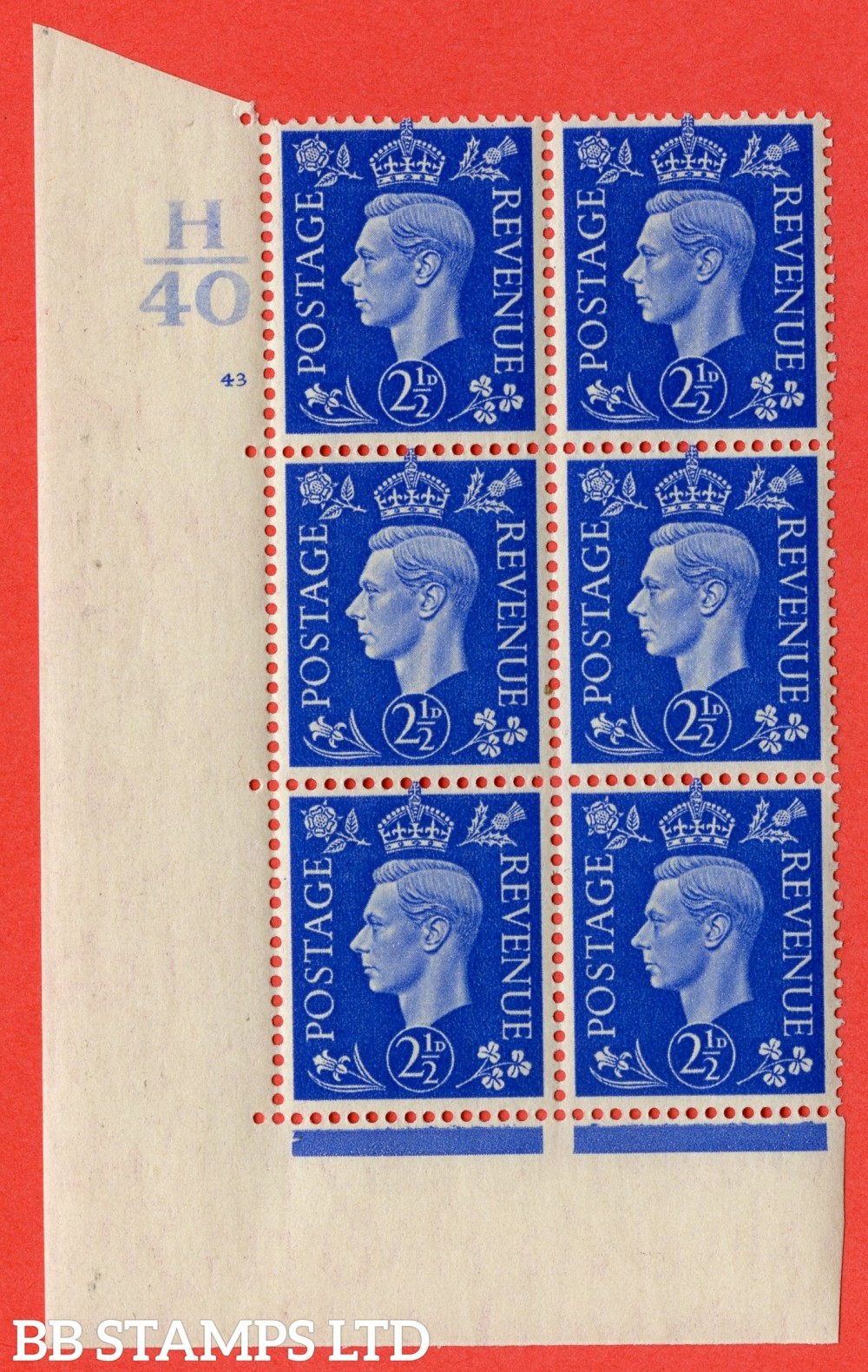 "SG. 466. Q13. 2½d Ultramarine. A superb UNMOUNTED MINT "" Control H40 cylinder 43 no dot "" control block of 6 with perf type 5 E/I."