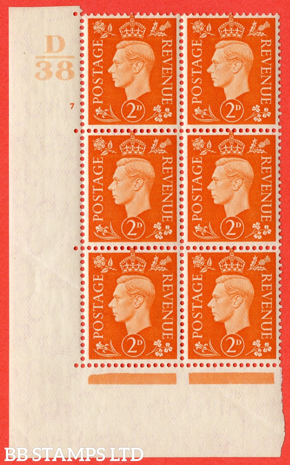 "SG. 465. Q10. 2d Orange. A superb UNMOUNTED MINT "" Control D38 cylinder 7 no dot "" control block of 6 with perf type 5 E/I. Slight crease"