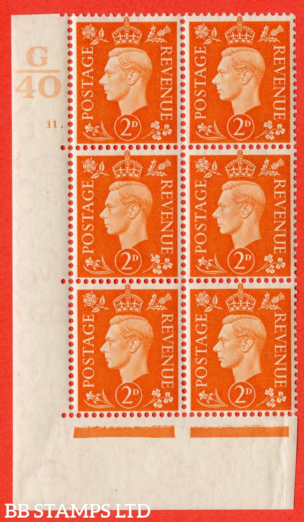 "SG. 465. Q10. 2d Orange. A fine lightly mounted mint "" Control G40 cylinder 11 dot "" control block of 6 with perf type 5 E/I."