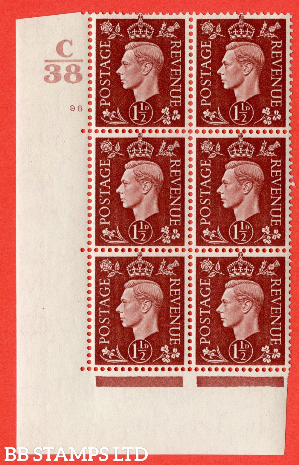 """SG. 464. Q7. 1½d Red-Brown. A superb UNMOUNTED MINT """" Control C38 cylinder 96 no dot """" block of 6 with perf type 5 E/I."""