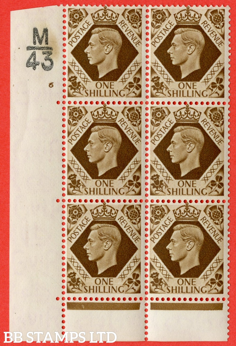 "SG. 475. Q28. 1/- Bistre-Brown. A fine lightly mounted mint "" Control  M43 cylinder 6 no dot "" control block of 6 with perf type 6B E/P."