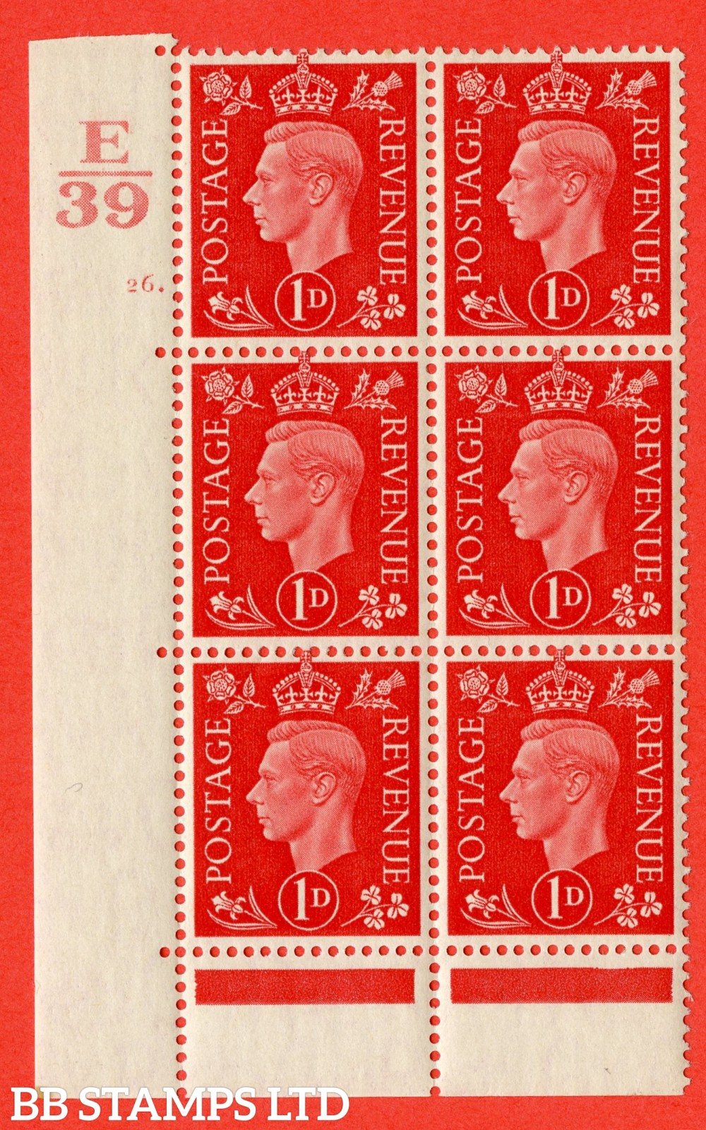 "SG. 463. Q4. 1d Scarlet. A superb UNMOUNTED MINT"" Control E39 cylinder 26 no dot "" block of 6 with perf type 6B E/P."