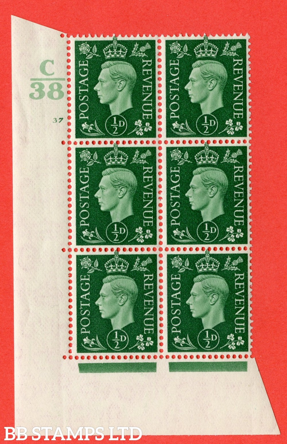 "SG. 462. Q1. ½d Green. A superb UNMOUNTED MINT "" Control C38 cylinder 37 no dot "" block of 6 with perf type 5 E/I."