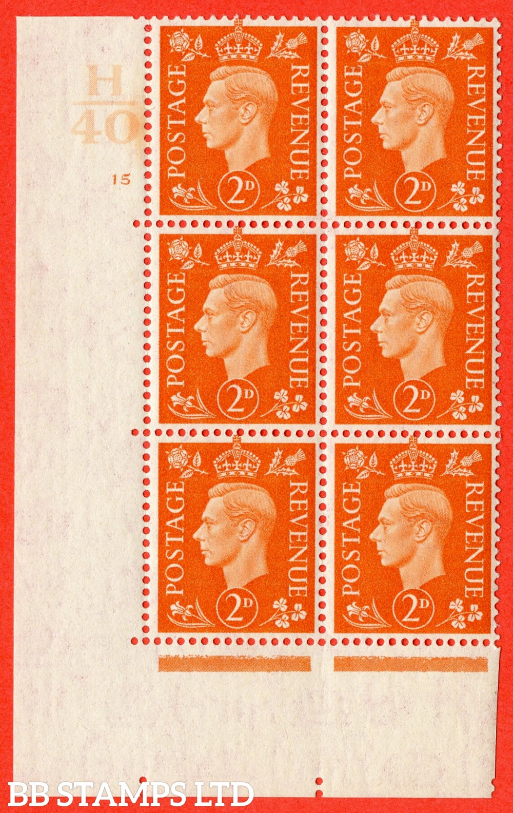 "SG. 465. Q10. 2d Orange. A superb UNMOUNTED MINT "" Control H40 cylinder 15 no dot "" control block of 6 with perf type 5 E/I."