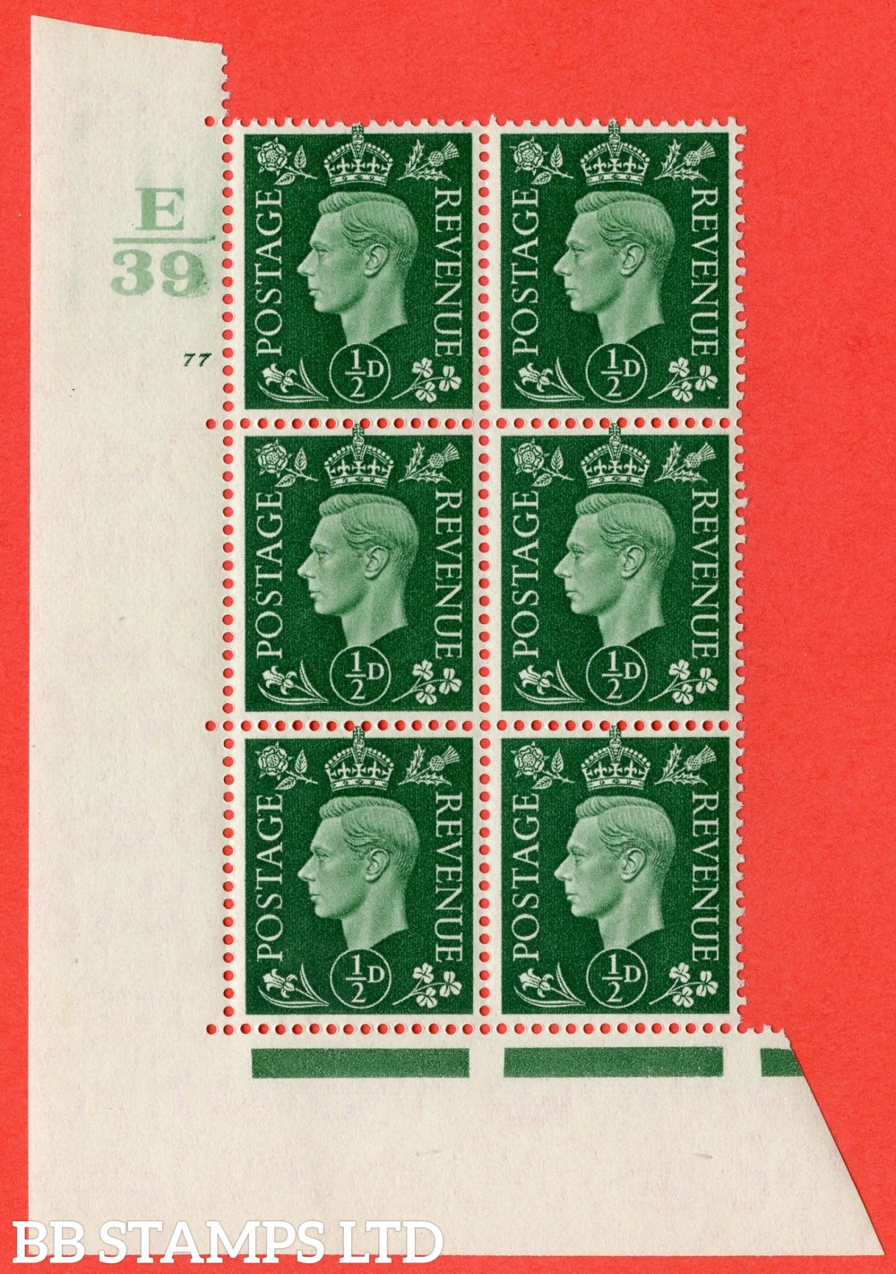 "SG. 462. Q1. ½d Green. A superb UNMOUNTED MINT "" Control E39 cylinder 77 no dot "" block of 6 with perf type 5 E/I."