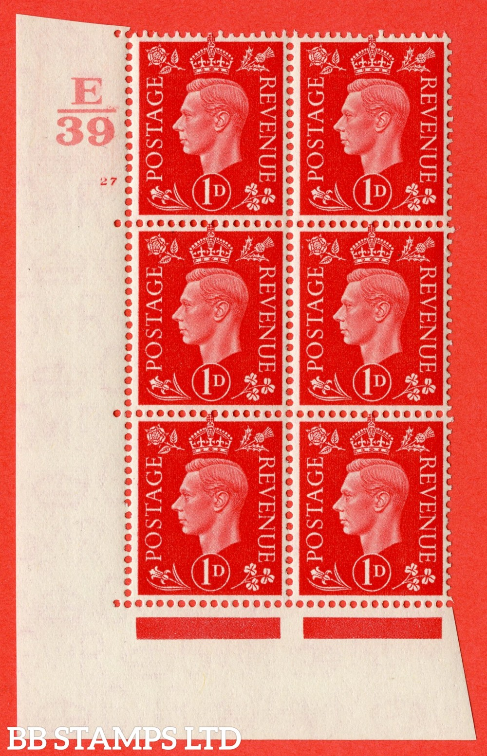 "SG. 463. Q4. 1d Scarlet. A superb UNMOUNTED MINT "" Control E39 cylinder 27 no dot "" block of 6 with perf type 5 E/I."