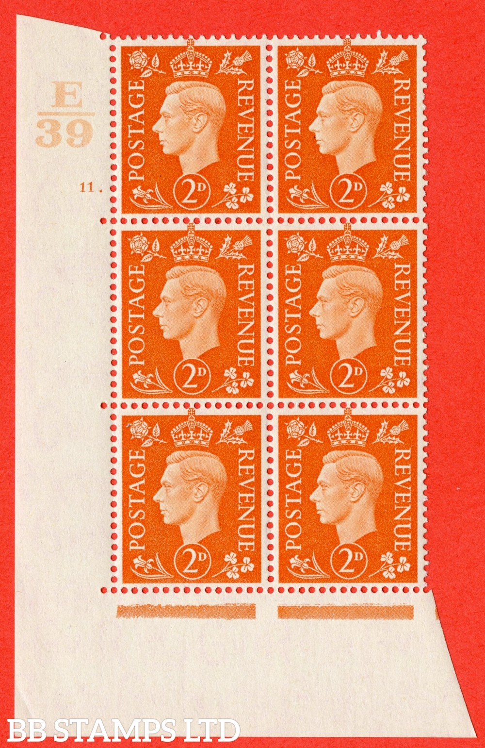 "SG. 465. Q10. 2d Orange. A superb UNMOUNTED MINT "" Control E39 cylinder 11 dot "" control block of 6 with perf type 5 E/I."