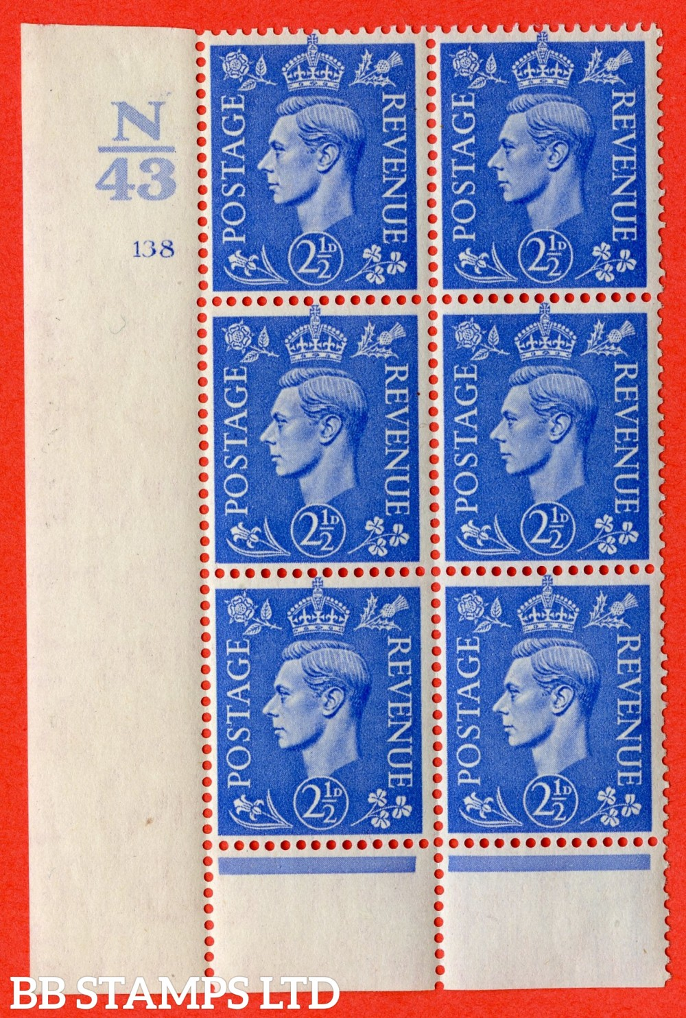 "SG. 489. Q14. 2½d Light ultramarine. A fine mounted mint "" Control N43 cylinder 138 no dot "" control block of 6 with perf type 5 E/I."