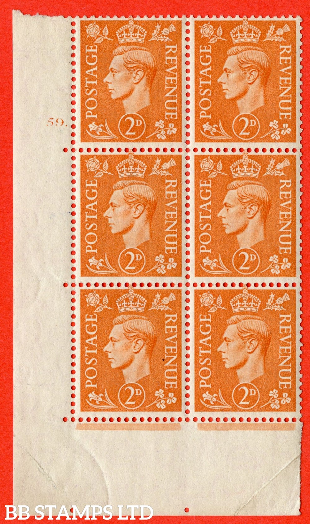 "SG. 488. Q11. 2d Pale Orange. A superb UNMOUNTED MINT "" No Control cylinder 59 dot "" control block of 6 with perf type 5 E/I"