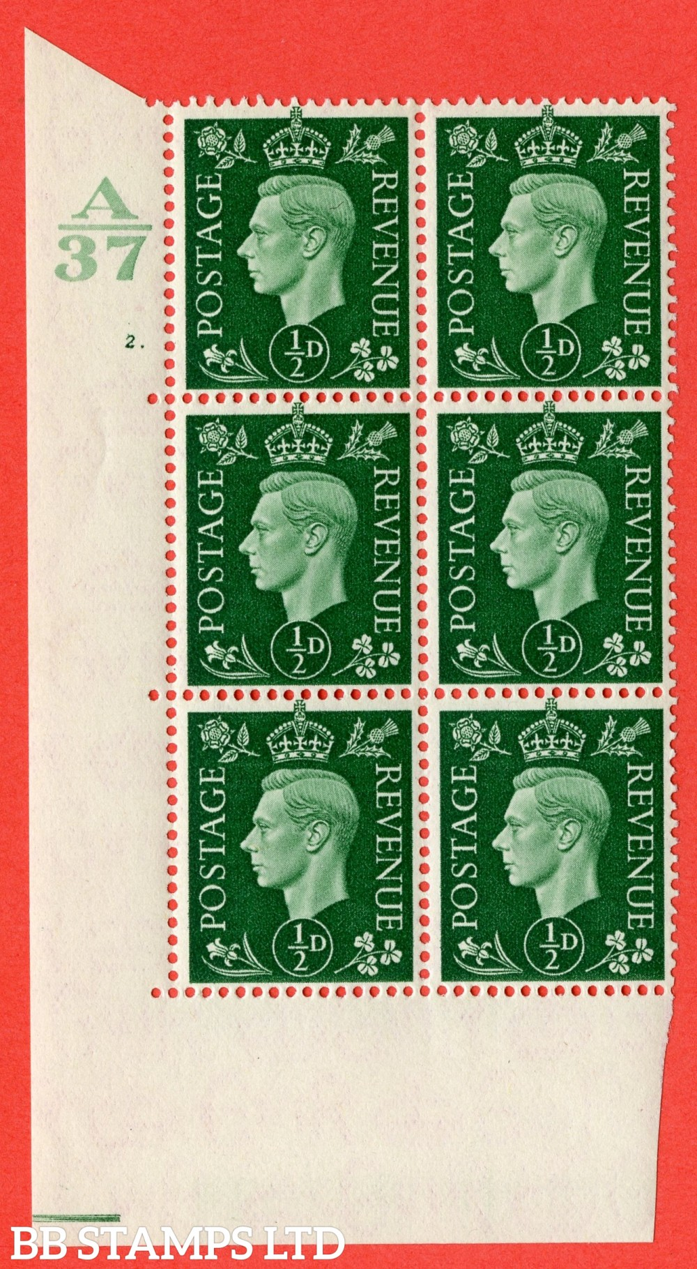"""SG. 462. Q1. ½d Green. A superb UNMOUNTED MINT """" Control A37 cylinder 2 dot """" block of 6 with perf type 5 E/I without marginal rule."""