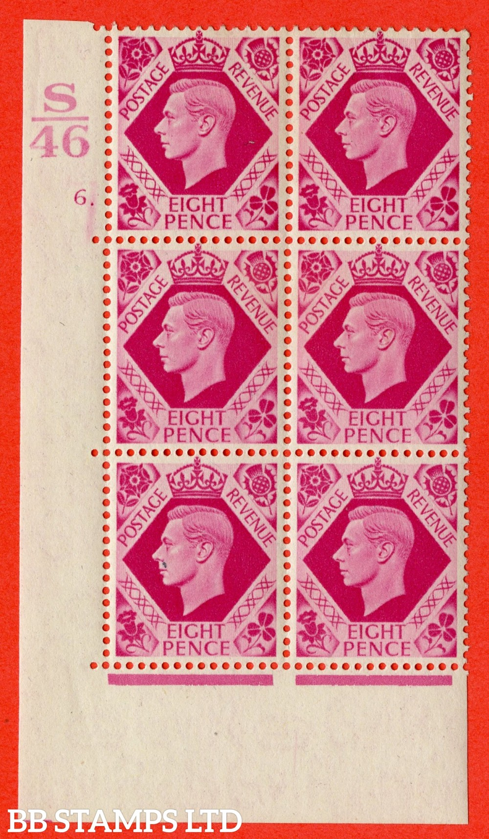 "SG. 472. Q24. 8d Bright Carmine. A fine lightly mounted mint "" Control S46. Cylinder 6 dot "" control block of 6 with perf type 6B E/P"