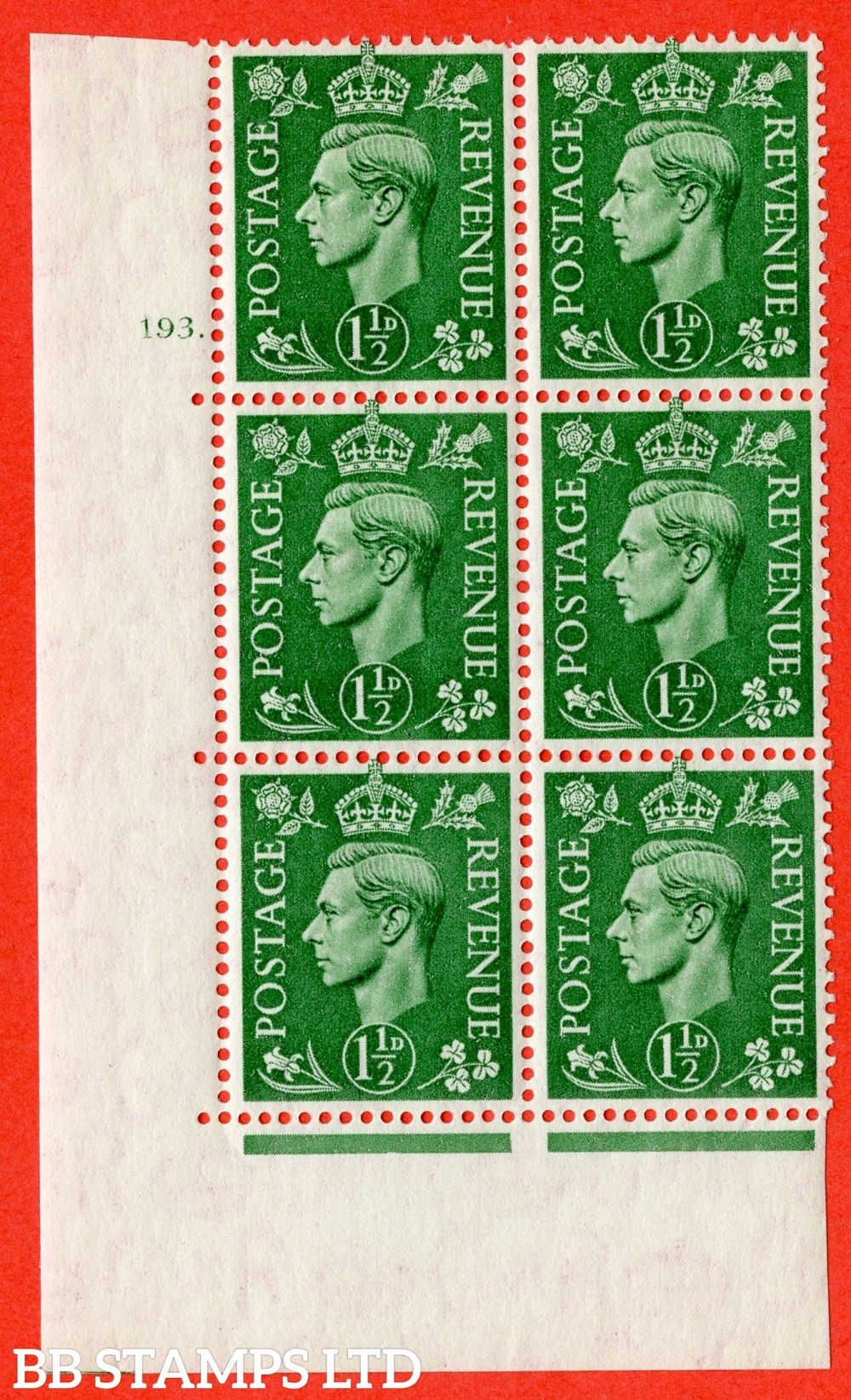 "SG. 505. Q9. 1½d Pale Green. A superb UNMOUNTED MINT "" No Control cylinder 193 dot "" control block of 6 with perf type 5 E/I"