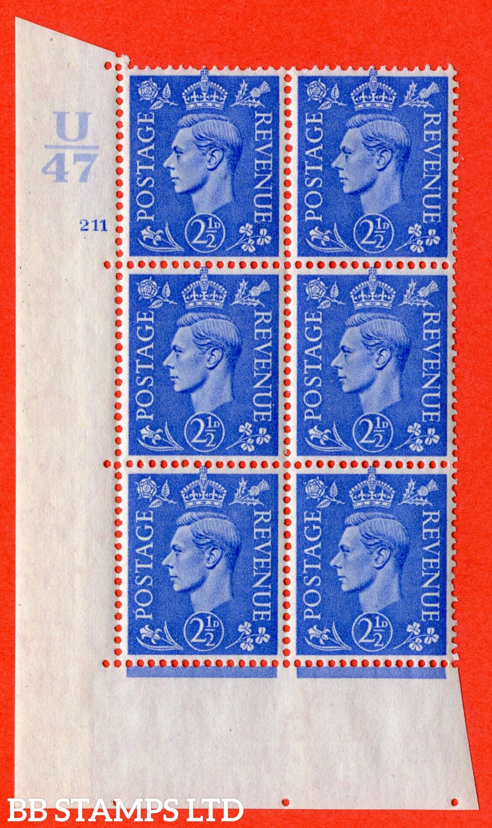 "SG. 489. Q14. 2½d Light ultramarine. A superb UNMOUNTED MINT "" Control U47 cylinder 211 no dot "" control block of 6 with perf type 5 E/I"