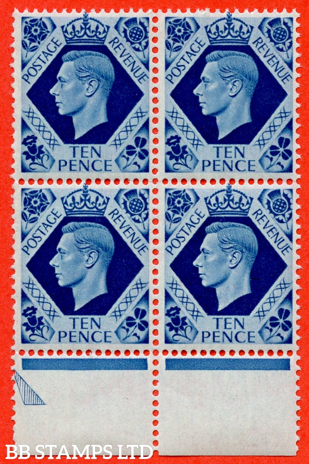 "SG. 474. Q26 b. 10d turquoise - blue. A superb UNMOUNTED MINT posistional bottom marginal block of 4 with the bottom left hand stamp clearly showing the listed variety "" broken fleur - de - lis (Cylinder 7 No Dot. Row 20/7 ""."