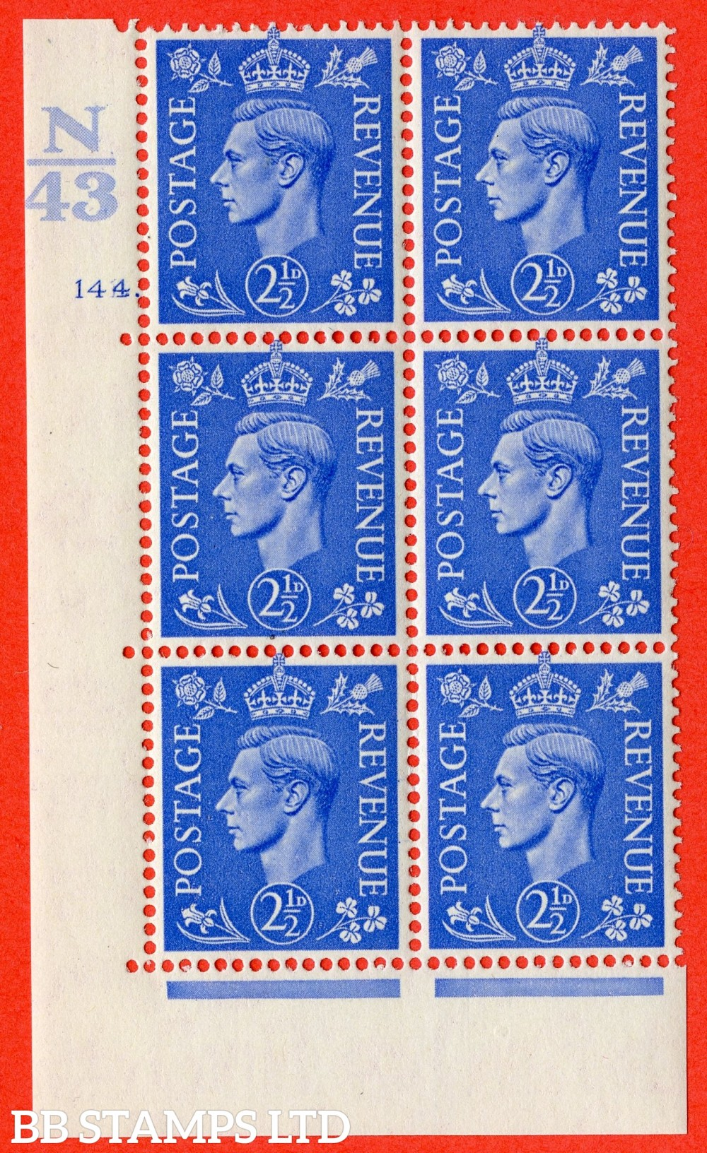 "SG. 489. Q14. 2½d Light ultramarine. A suberb UNMOUNTED MINT "" Control  N43 cylinder 144 dot "" control block of 6 with perf type 5 E/I."