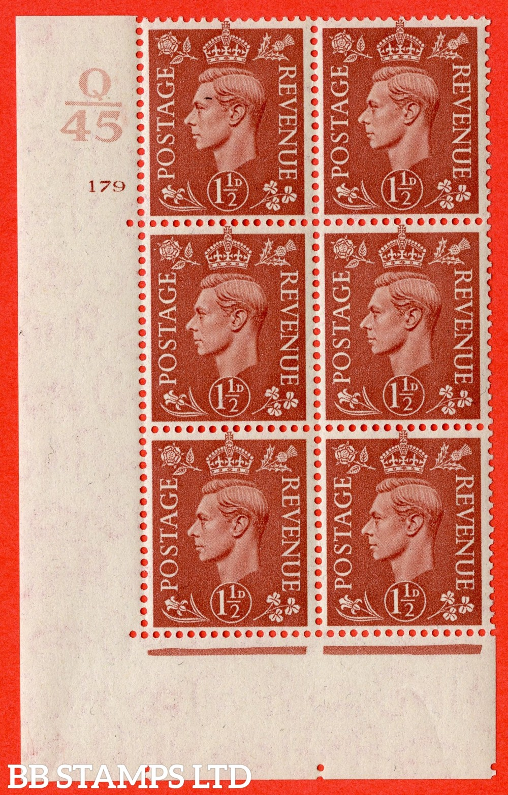 "SG. 487. Q8. 1½d Pale Red-Brown. A superb UNMOUNTED MINT "" Control Q45 cylinder 179 no dot "" control block of 6 with perf type 5AE AE/I."
