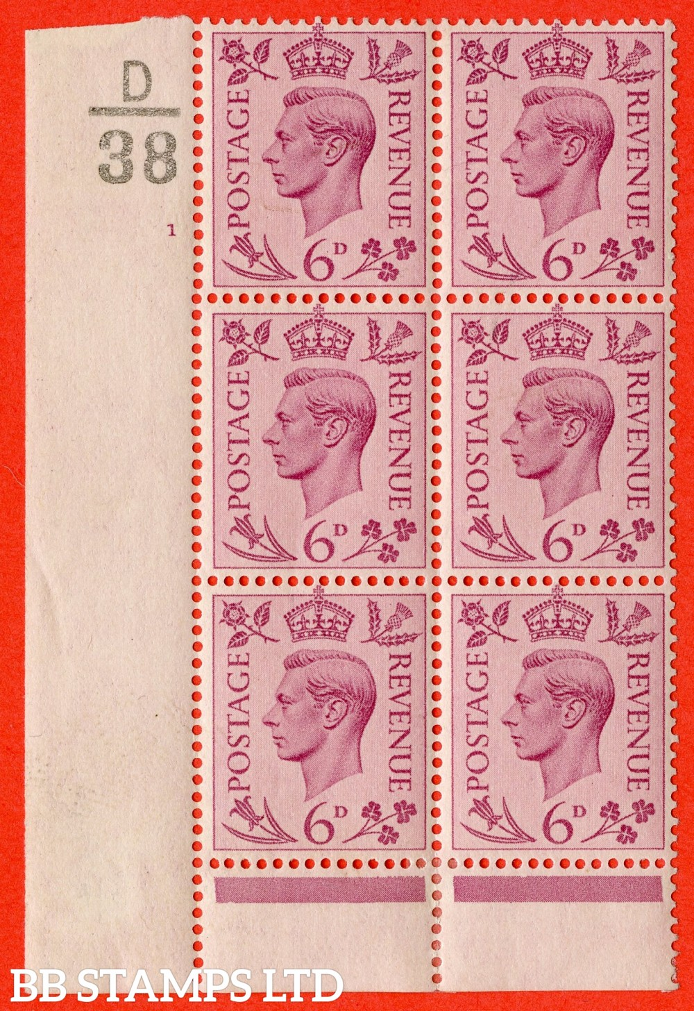 """SG. 470. Q22. 6d Purple. A finelightly mounted mint """" Control D38 cylinder 1 no dot """" control block of 6 with perf type 6 I/P."""