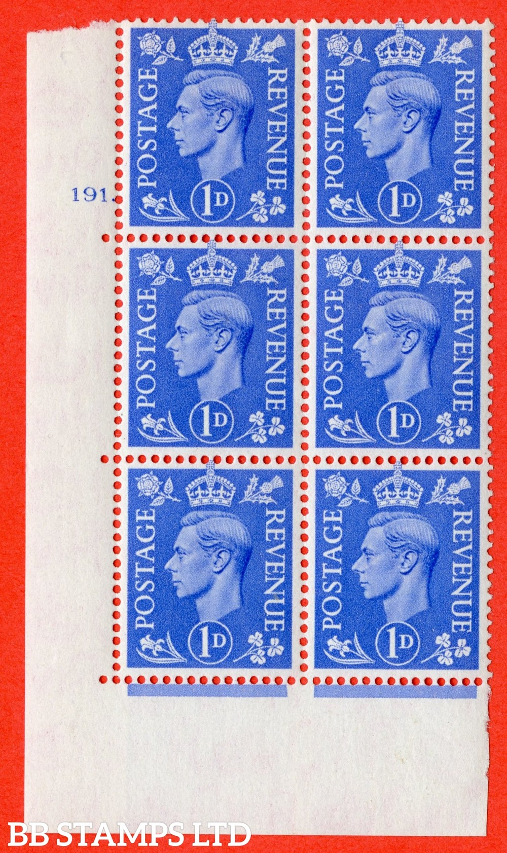 """SG. 504. Q6. 1d Light ultramarine. A superb UNMOUNTED MINT """" No Control cylinder 191 dot """" control block of 6 with perf type 5 E/I."""